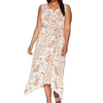 lucky ラッキー ファッション ドレス Lucky Brand Womens White Ivory 2X Plus Allover Print V-Neck Maxi Dress