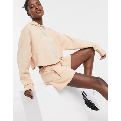 ナイキ レディース パーカー・スウェットシャツ アウター Nike washed logo sweatshirt in beige Shimmer/shimmer