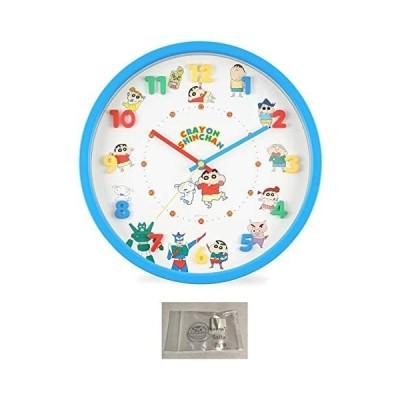 クレヨンしんちゃん 掛け時計 アイコン 壁掛け時計 連続秒針 ウォール クロック ブルー 当店オリジナルロゴ入りフック