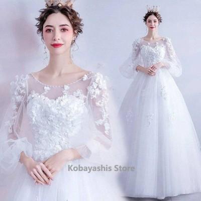 ホワイトドレスAラインウェディングドレス袖ありパフスリーブお洒落花嫁結婚式ドレスエレガントブライダルドレス披露宴二次会