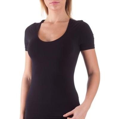 レディース 衣類 トップス Bellissima Women's Short Sleeve T-Shirt Scoop Neck Stretch Everyday Tops (Black L/XL) Tシャツ