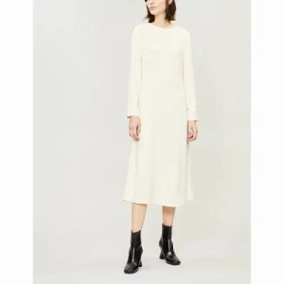 セオリー ワンピース a-line stretch-crepe midi dress Cream yellow
