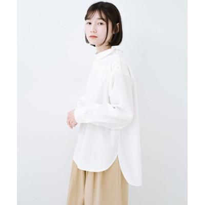 【ハコ】 凛とした気分になる ロールネックシャツ レディース ホワイト S haco!