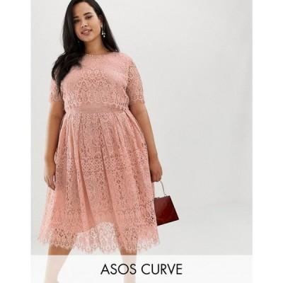 エイソス ASOS Curve レディース ワンピース ワンピース・ドレス ASOS DESIGN Curve Lace short sleeve midi prom dress Soft blush