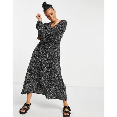 ミスガイデッド レディース ワンピース トップス Missguided smock dress with v neck in black dalmatian Black