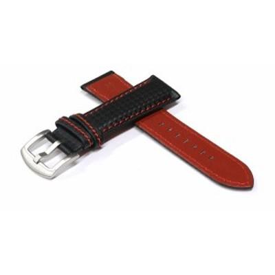 腕時計 ベルト 20mm 21mm 22mm 24mm カーボン レザー レッド ステッチ シルバー ヘアライン s-kl-re-sh