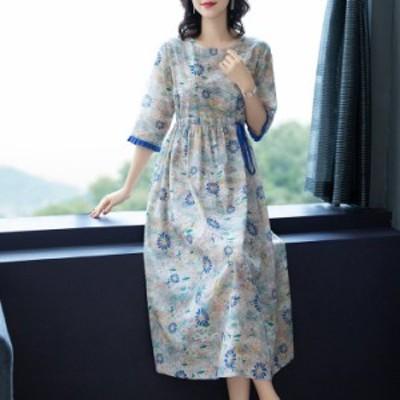 ワンピース レデイース 40代 キレイめ ロング丈 フレアスカート 花柄ワンピース 夏 大きいサイズ 呼ばれ 体型カバー 20代40代