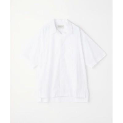 TOMORROWLAND/トゥモローランド コットンポプリン オープンカラー半袖シャツ 11 ホワイト M