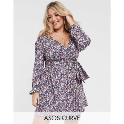 エイソス ASOS Curve レディース ワンピース ワンピース・ドレス ASOS DESIGN Curve long sleeve mini dress with shirred waist in blue ditsy print