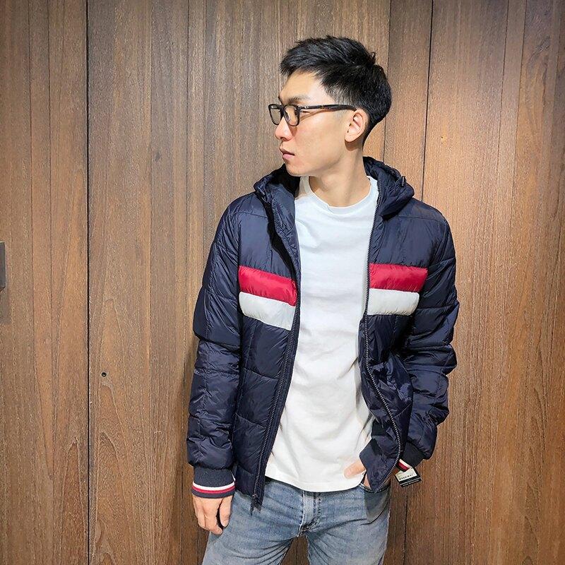 美國百分百【全新真品】Tommy Hilfiger 羽絨連帽外套 TH 保暖夾克 logo 深藍 男 S-L號 J954