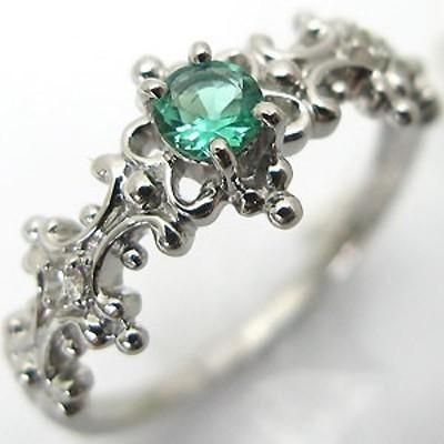 エンゲージリング・エメラルド・アンティークリング・K18WG婚約指輪