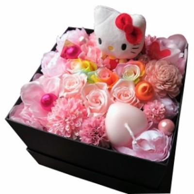 人気 キティ 花束風 レインボーローズ プリザーブドフラワー入りギフト キティ入り 箱を開けてサプライズ ボックス