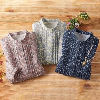 ベルーナ 【3色組】やわらか小花柄ネルシャツ ネイビー LL レディース