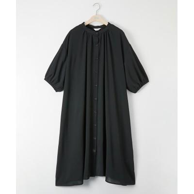 大きいサイズ 5分袖バンドカラーAラインガウンワンピース ,スマイルランド, plus size tops,