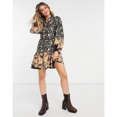 オブジェクト Object レディース ワンピース ワンピース・ドレス Mini Smock Dress In Floral Print フローラル
