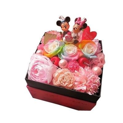 誕生日プレゼント ディズニー ミッキー ミニー入り 花束風 箱開けてスマイル ボックス入り レインボーローズ プリザーブドフラワー入り バースデーA