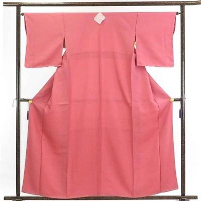 リサイクル着物 色無地 正絹ピンク地五三の桐紋入袷色無地未使用品