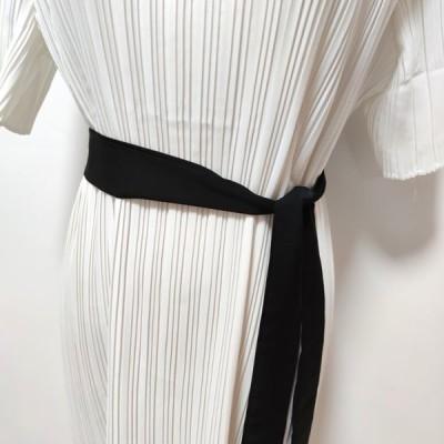 ドレス ワンピース ロング丈 プリーツワンピ ウエストリボン バイカラー ラウンドネック 5分袖 お呼ばれ 20代 30代 40代 50代
