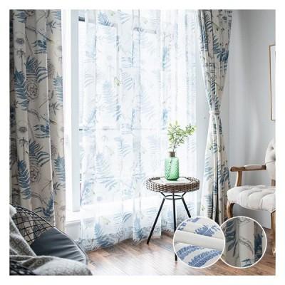 カーテン 花柄 新生活 プリント 送料無料 ブルー グリーン 北欧 紐プレゼント オーダー 柄 飾り 幅60〜100cm-丈60〜100cm