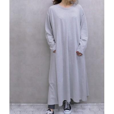 【柔らかガーゼ裏毛】超ゆったりフレアロングワンピース (ワンピース)Dress
