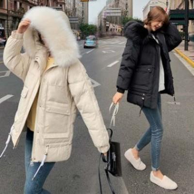 フード付き 中綿コート レディース ミディアム丈 20代 30代 無地 ダウンコート ファー 毛皮 冬アウター 厚手 暖かい 防寒コート 冬コート