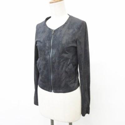 【中古】Roomy's ルーミィーズ ノーカラージャケット 長袖 ジップアップ ストレッチ 黒 ブラック F レディース