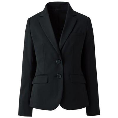 ウール混テーラードジャケット(2つボタン)(事務服・洗濯機OK)/ブラック/11AR