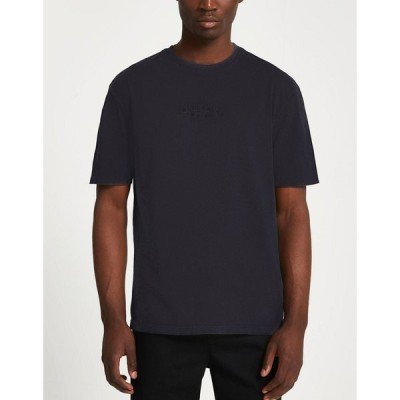 リバーアイランド River Island メンズ Tシャツ トップス t-shirt with Paris logo in washed black ブラック