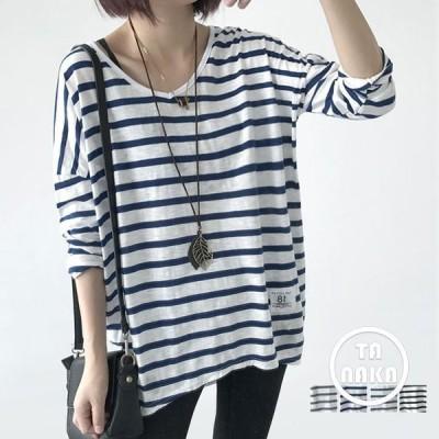 Tシャツ ボーダー ストライプ SI  長袖 ゆるtシャツ レディース ロング丈 Tシャツ  トップス 定番アイテム 女性服 丸首 綿Tシャツ