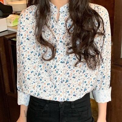 シャツレディースブラウス大きいサイズ花柄長袖春夏ビッグシルエット柄物立ち襟トップス透けない