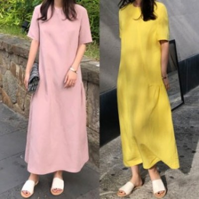 マキシワンピース 夏 パステルカラー ワンピース 夏服 レディース 韓国 ファッション ワンピ 無地 シンプル Aライン フレア サンドレス