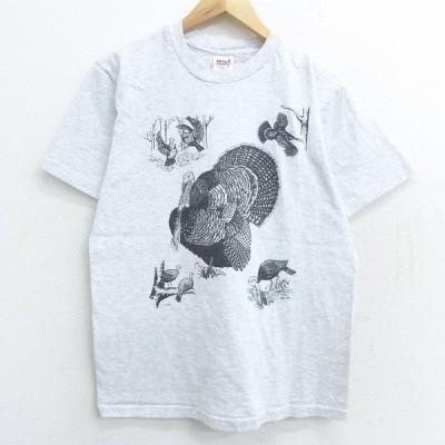S/古着 半袖 ビンテージ Tシャツ 90s 鳥 クルーネック 薄グレー 霜降り 21mar30 中古 メンズ