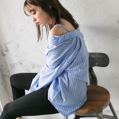 【メール便対応】4WAYオーバーサイズオフショルシャツ