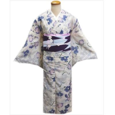 着物 絽 夏用 洗える 紗 軽装帯 付け帯 セット オフホワイト地 撫子 M L