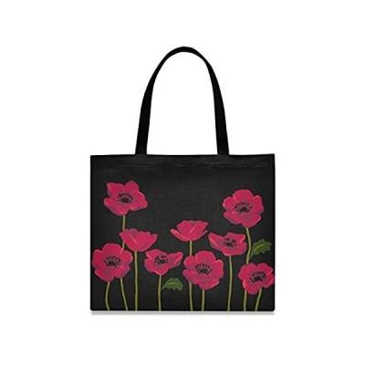 visesunny Women's Large Canvas Tote Shoulder Bag Retro Red Flower Top Stora