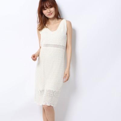 ゲス GUESS SHAINA CROCHET DRESS (WHISPER WHITE)