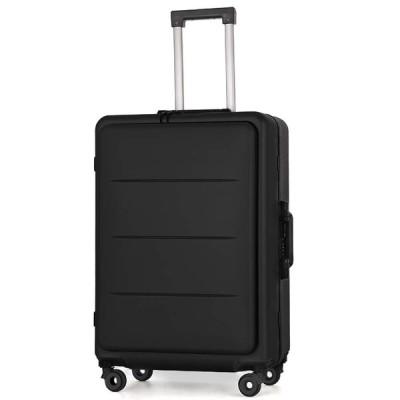 Roam.Cove フロントオープン スーツケース ビジネス 軽量 機内持ち込み ビジネスキャリーケース 静音 TSAロック 出張 高品質モデル シンプル おしゃれ (ブラック