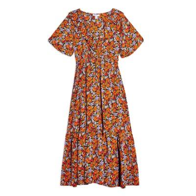 トップショップ TOPSHOP 7分丈ワンピース・ドレス オレンジ 6 ポリエステル 100% 7分丈ワンピース・ドレス