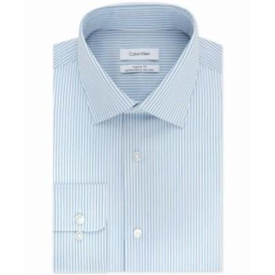 Calvin Klein カルバンクライン ファッション ドレス Calvin Klein Mens Blue Size 16 1/2 Regular Fit Stripe Print Dress Shirt
