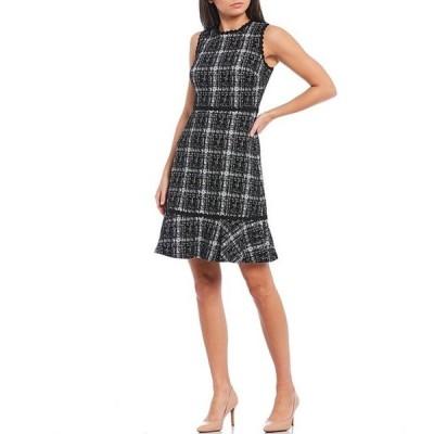 カール ラガーフェルド レディース ワンピース トップス Plaid Knit Tweed Sleeveless Ruffle Hem A-Line Dress