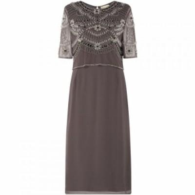 フロックアンドフリル Frock and Frill レディース ワンピース シフトドレス ワンピース・ドレス Embellished shift dress Grey