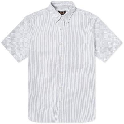 ビームス プラス Beams Plus メンズ 半袖シャツ トップス short sleeve oxford shirt Blue Candy Stripe