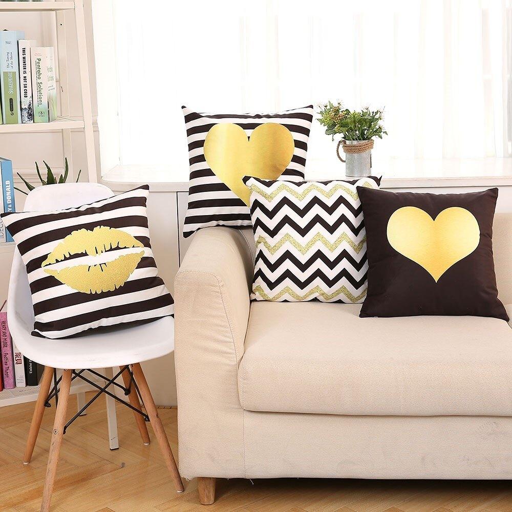 黑白條紋簡約幾何金色愛心嘴唇雙面絨抱枕套汽車沙發靠墊靠枕靠背1入