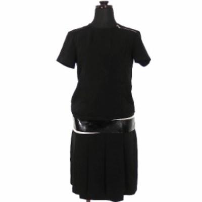 【中古】ディーゼルブラックゴールド DIESEL BLACK GOLD クルーネック ワンピース チュニック 半袖 36 ブラック