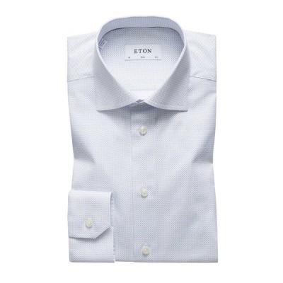 エトン メンズ シャツ トップス Men's Slim-Fit Micro-Pattern Dress Shirt