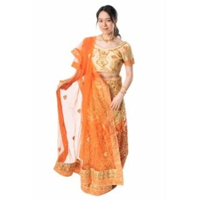 【送料無料】 インドのレヘンガドレスセット / パーティードレス コスプレ ウェディングドレス 民族衣装 サリー レディース 女性物 エス