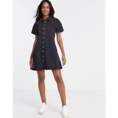 エイソス レディース ワンピース トップス ASOS DESIGN soft denim smock shirt dress in washed black