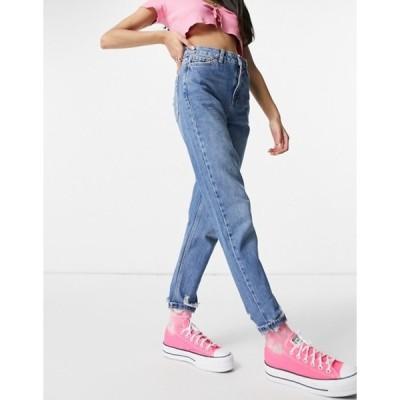 トップショップ レディース デニムパンツ ボトムス Topshop mom jeans with rip hems in mid blue