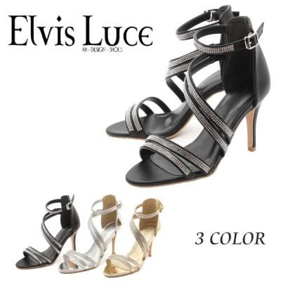 ElvisLuce エルビスルーチェ サンダル オープントゥ きらきら ラインストーン フック ストラップ 美脚 きれい ハイヒール 08-6873