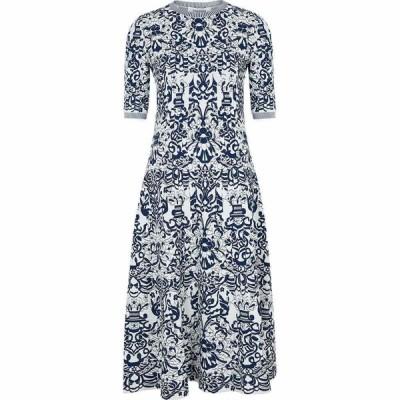 ヴァレンティノ Valentino レディース パーティードレス ミドル丈 ワンピース・ドレス Floral-Jacquard Stretch-Knit Midi Dress Blue